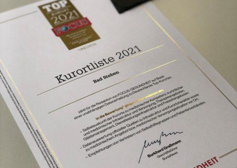 Auszeichnung Bad Steben Top Kurort 2021